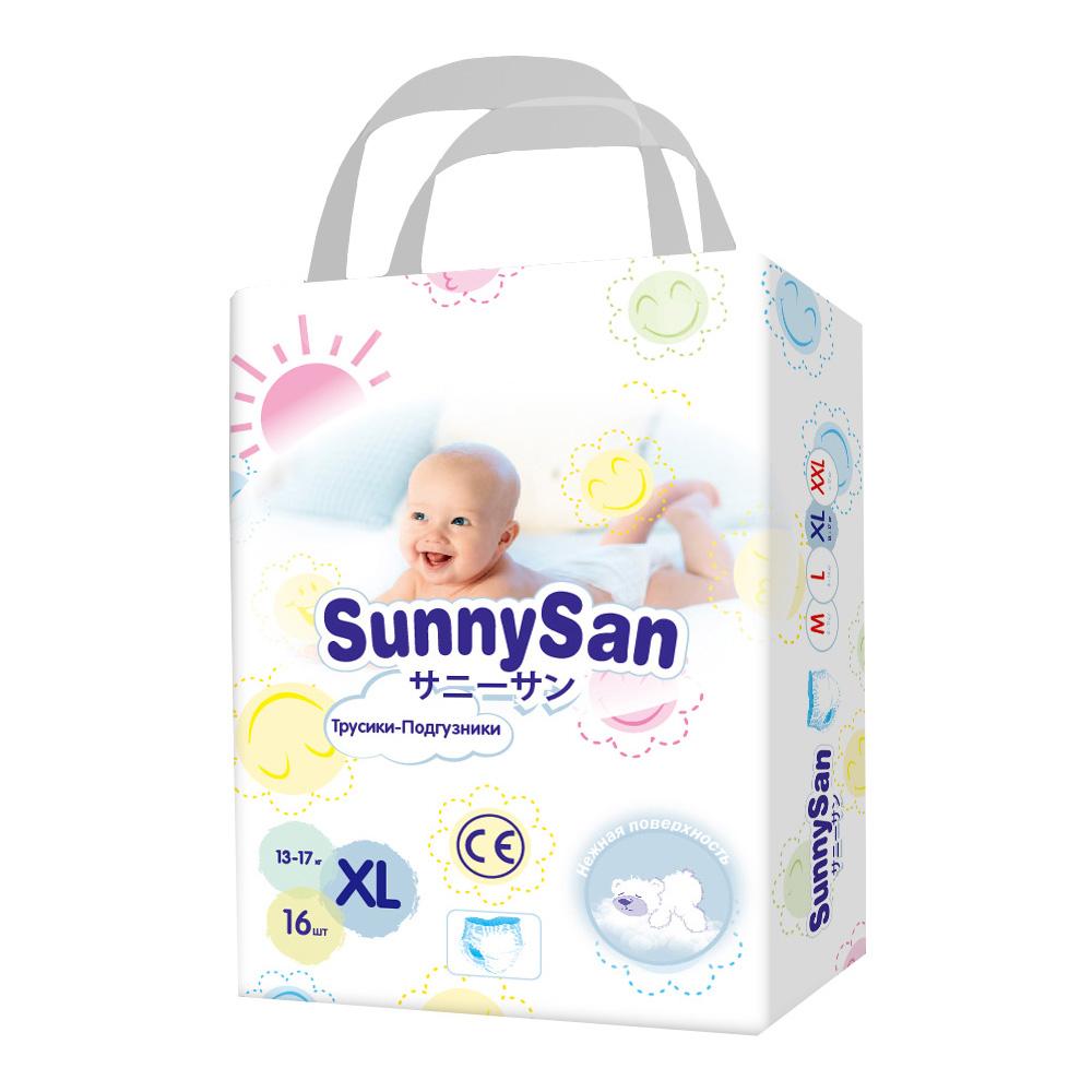 Трусики-подгузники SunnySan XL (13-17 кг) 16 шт. подгузники insinse q6 xl 13 кг 18шт