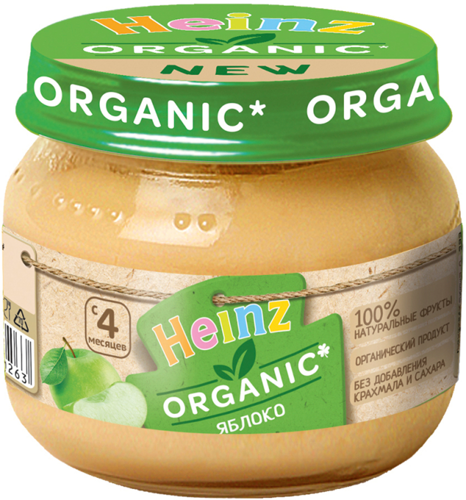 Фото - Пюре Heinz Organic Яблоко с 4 мес. 80 г пюре heinz organic яблоко и груша с 5 мес 80 г