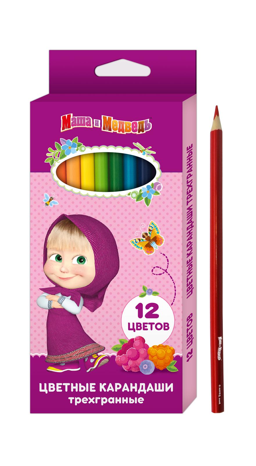 Ручки и карандаши Маша и Медведь Цветные карандаши Маша и Медведь трехгранные 12 цв. цена