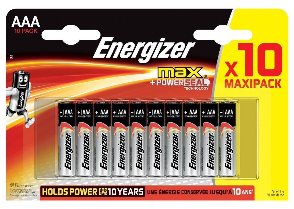 Батарейки Energizer Max E92 AAA 10 шт. элемент питания energizer max aaa 2 шт