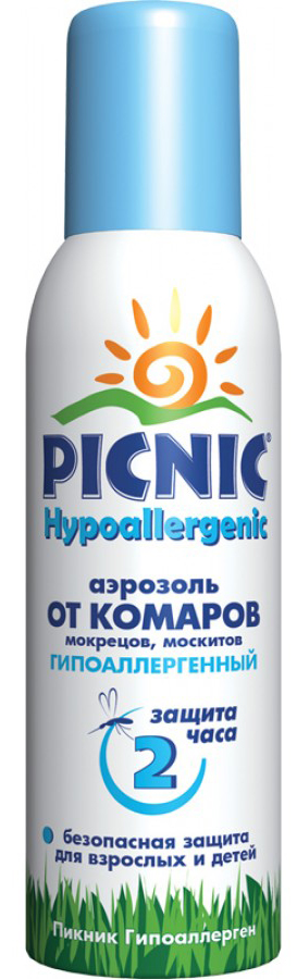 Средства от насекомых Picnic Аэрозоль от комаров Picnic «Hypoallergenic» 125 г средство акарицидное защита от клещей super picnic 125 мл