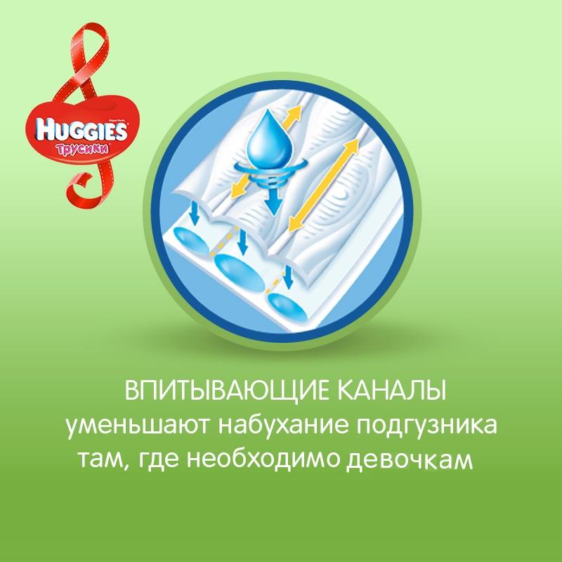 Подгузники-трусики Huggies для девочек 5 (13-17 кг) 15 шт. одноразовые трусики подгузники huggies little walkers mega pack 13 17 кг 48 шт для девочек