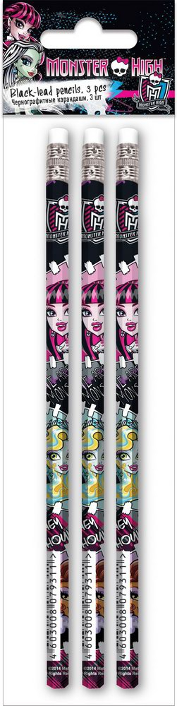 Набор карандашей Monster High Чернографитных Monster High 3 шт ремень мужской askent цвет черный rm 6 lg размер 125