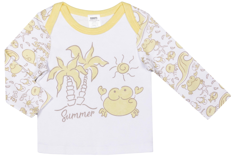 Комплект: футболка и штанишки детские Barkito Осьминожка экрю с рисунком