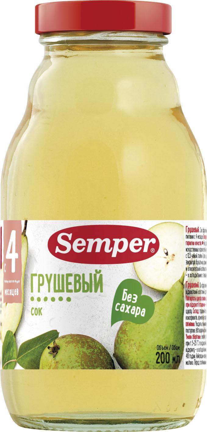 Сок Semper грушевый с 4 мес. 200 мл агу агу сок яблочно грушевый с 5 мес 170мл