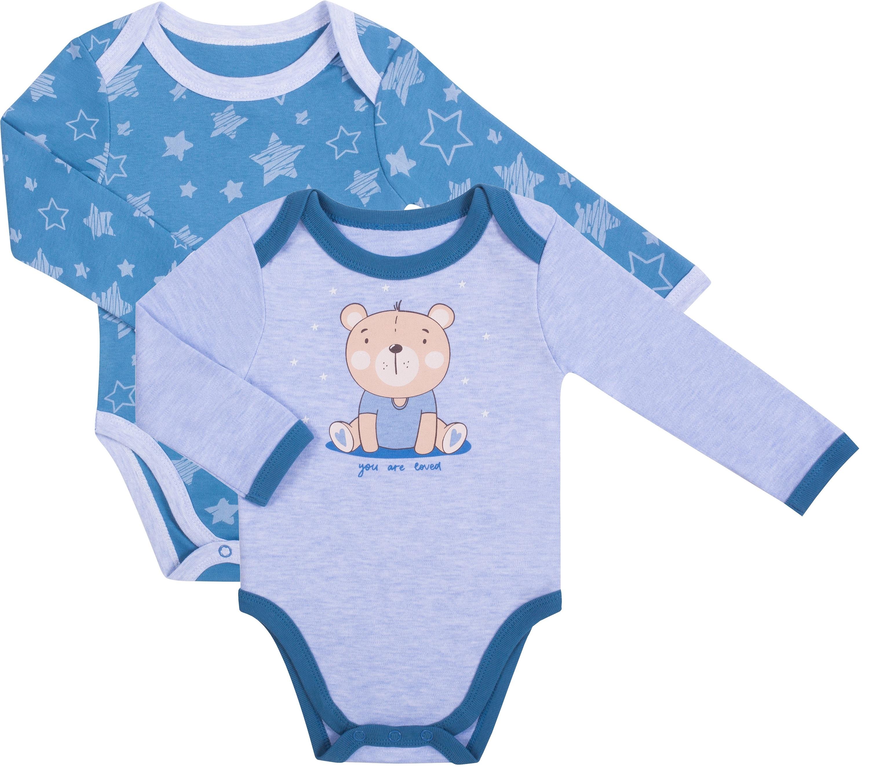 Боди с длинным рукавом детское Be2Me «Sweet bear» 2 шт., голубое меланж и синий с рисунком звезды