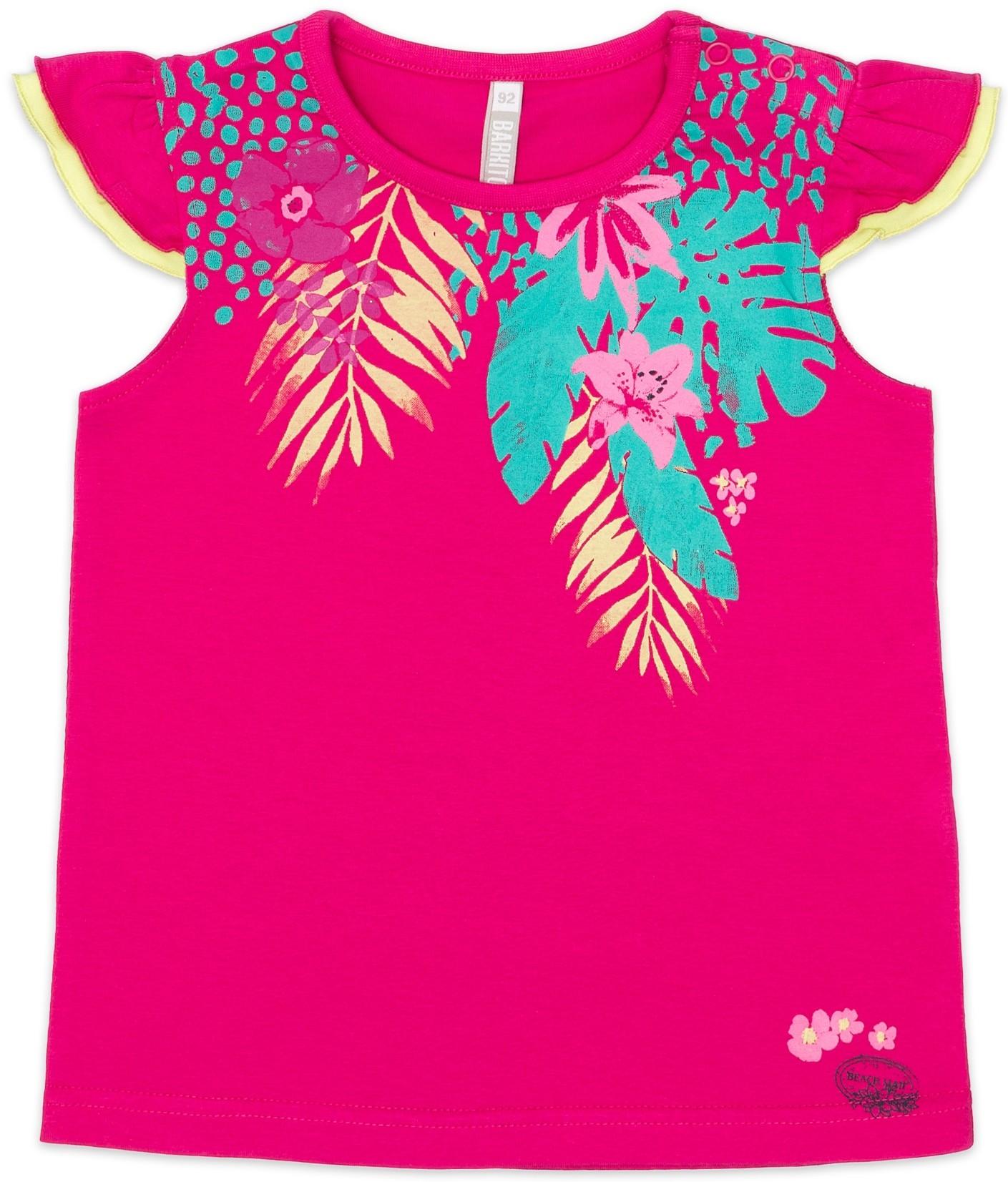 Футболки и топы Barkito Футболка с коротким рукавом для девочки Barkito, Алоха Гавайи!, темно-розовая топы и футболки