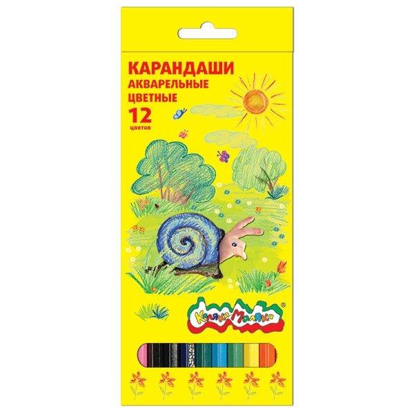 Набор акварельных карандашей Каляка-Маляка 12 цветов ручки и карандаши каляка маляка карандаши пластиковые каляка маляка 12 цветов