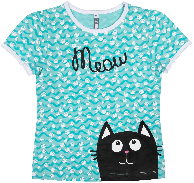 """все цены на Футболки Barkito Футболка с коротким рукавом для девочки Barkito """"Мартовские коты"""", мятная с рисунком онлайн"""