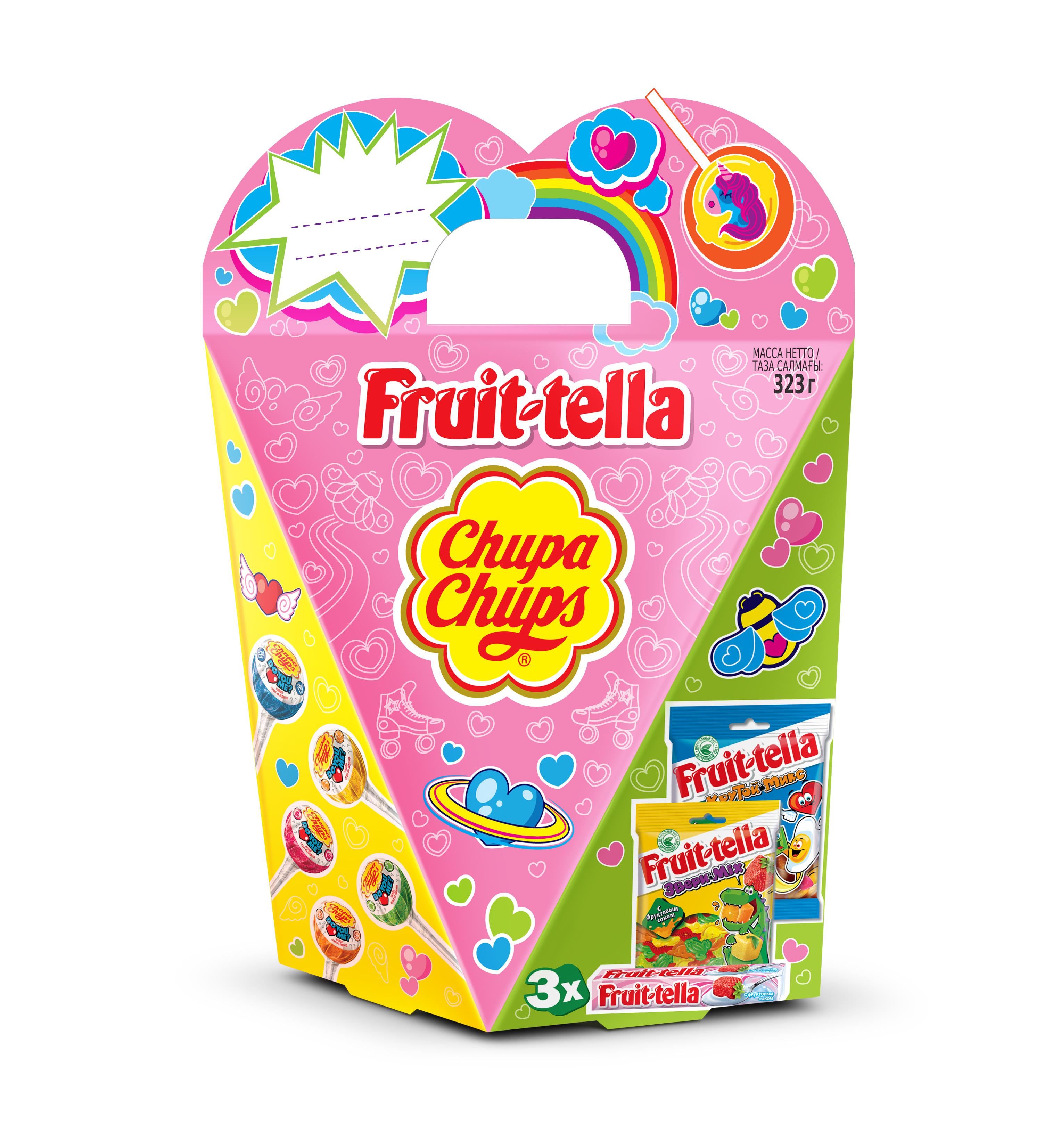 Сладкий набор Chupa Chups Mix Сердце 323 г жевательные конфеты в глазуриskittles pouch фрукты 165 г