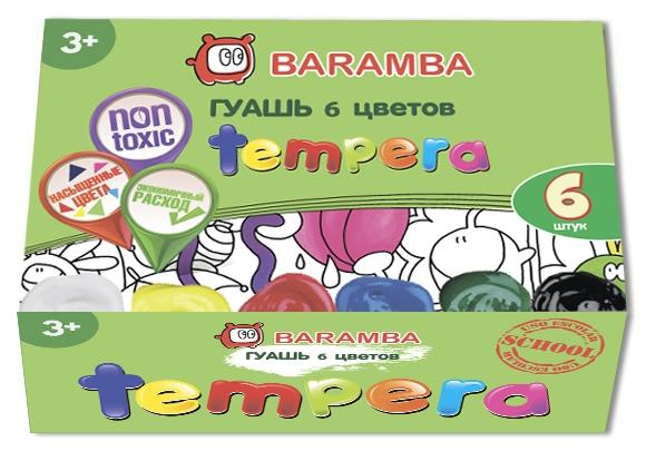 Краски Baramba Tempera 6 цветов B20506 pro art liquid washable tempera paint 8 ounce white