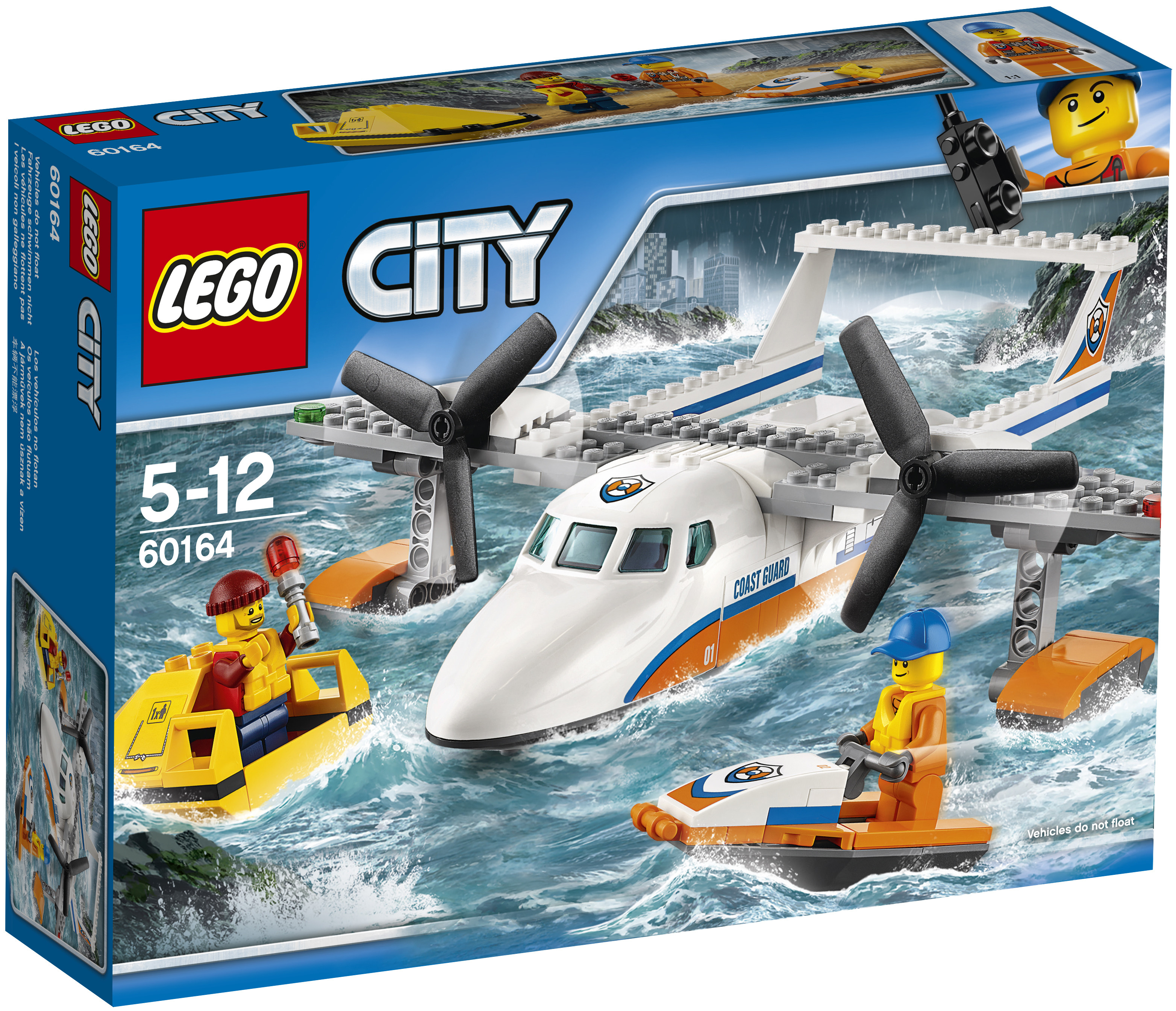 LEGO LEGO City Coast Guard 60164 Спасательный самолет береговой охраны конструктор lele city сверхмощный спасательный 448 дет 02068