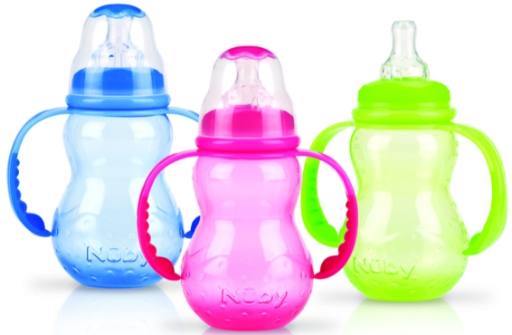 Бутылочкадля кормления Nuby с ручками, силиконовой соской-непроливайкой 0+, 210 мл. цена