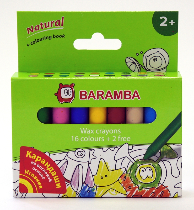 Ручки и карандаши Baramba Карандаши восковые Baramba 18 цв. с вкладышем-раскраской карандаши восковые мелки пастель berlingo карандаши замки 18 цветов