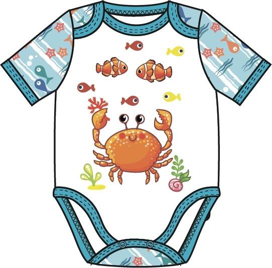 Комбинезон для мальчика Barkito Подводные жители голубой с рисунком боди и песочники kiddy bird боди короткий рукав винтаж 2 шт