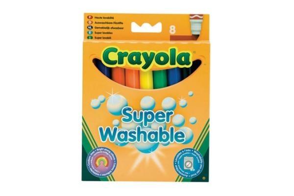 Фломастеры Crayola Фломастеры смываемые Супер чисто с толстым наконечником 8 шт. набор фломастеров crayola смываемых супер чисто 12 шт 58 8329