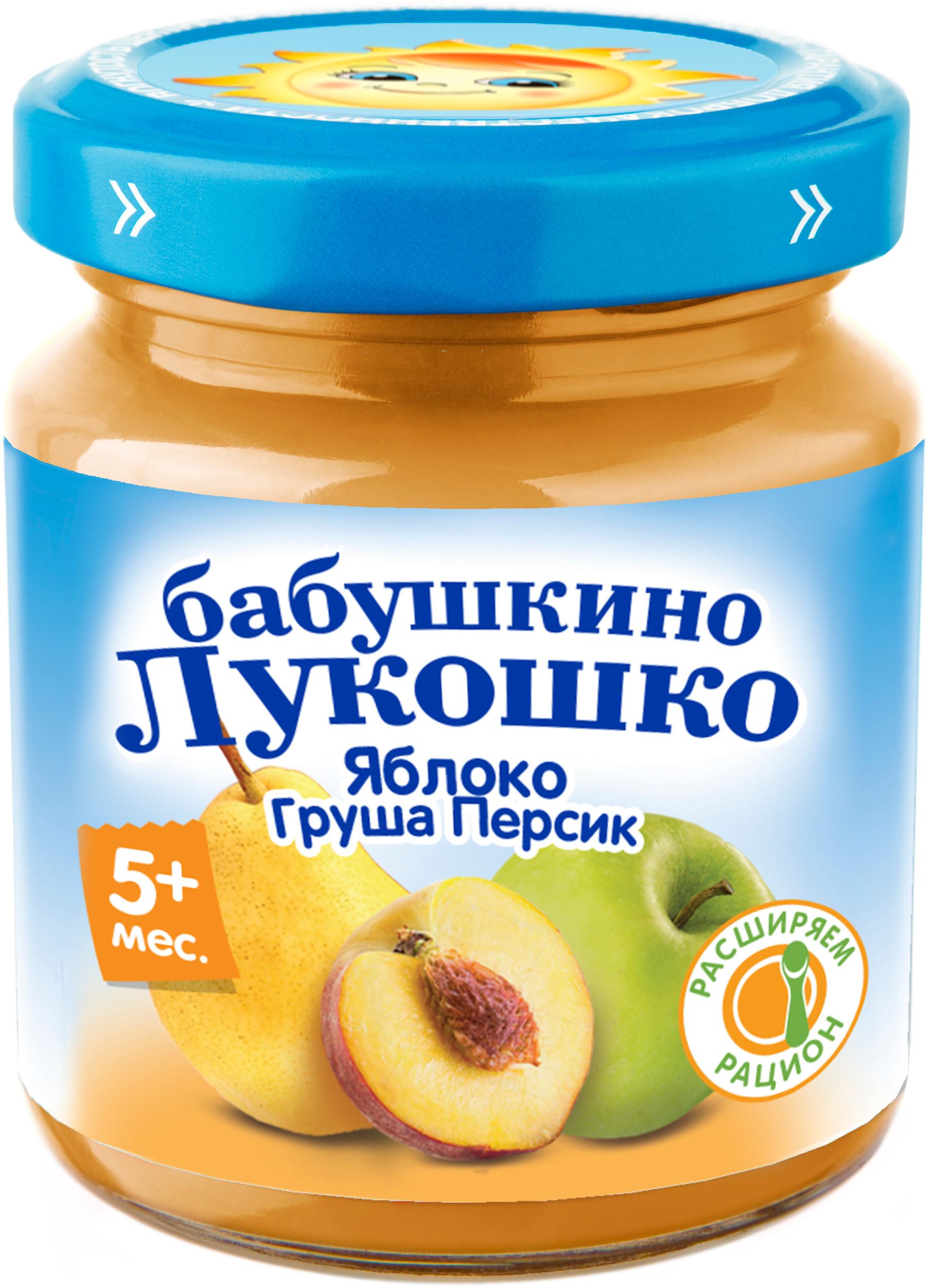Пюре Бабушкино лукошко Бабушкино лукошко Яблоко, груша, персик с 5 мес. 100 г цена в Москве и Питере