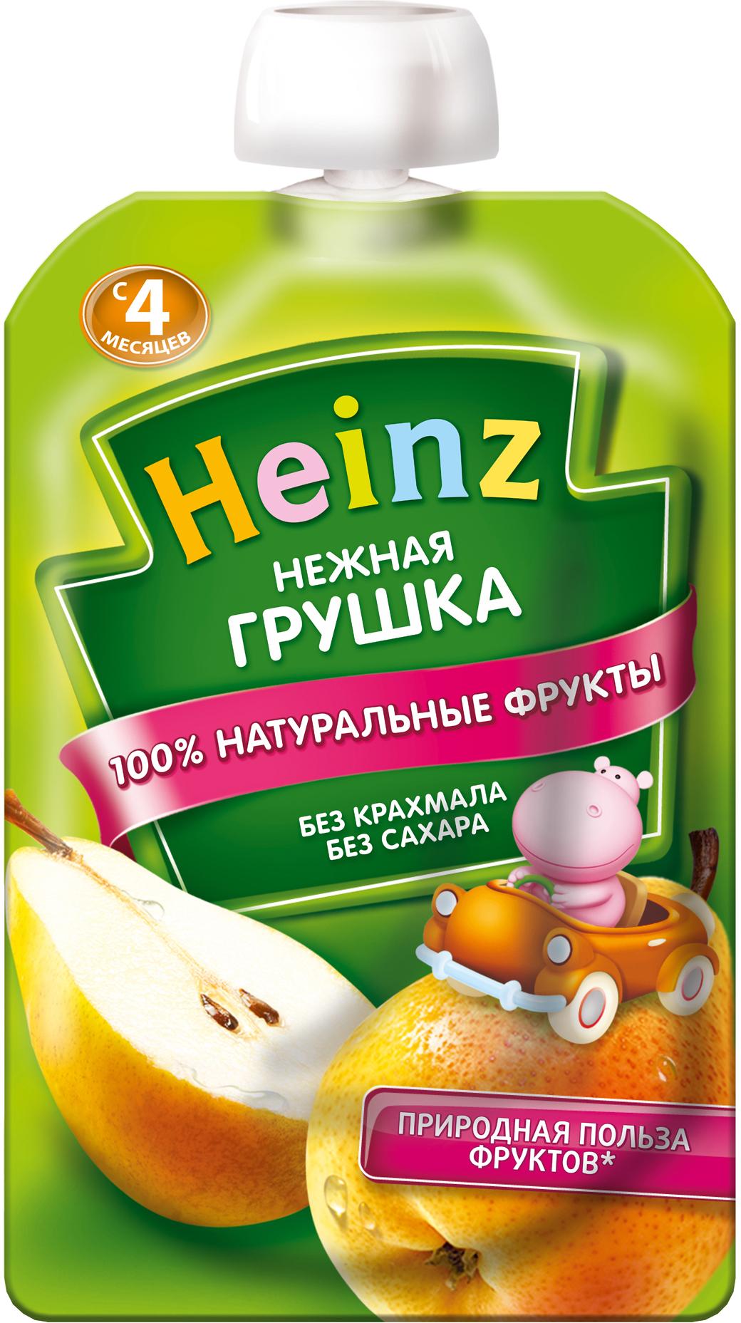 Пюре Heinz Пюре Heinz Груша 4 мес. 100 г (пауч) пюре heinz фруктовое 120 гр грушка и черничка с печеньем с 6 мес