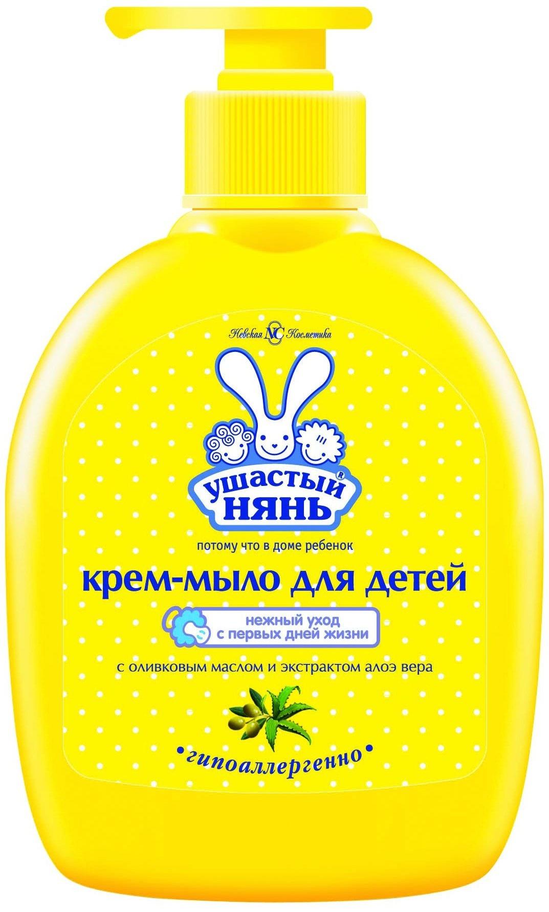 Фото Детское мыло Ушастый нянь Крем-мыло Ушастый нянь с оливковым маслом и алоэ-вера 300 мл