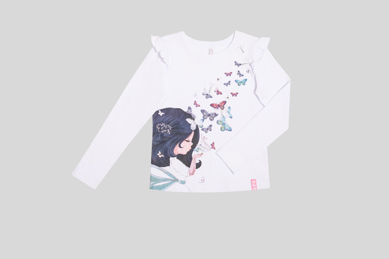 Футболка Barkito для девочки с длинным рукавом белая футболка с длинным рукавом для девочки barkito мартовские коты белая