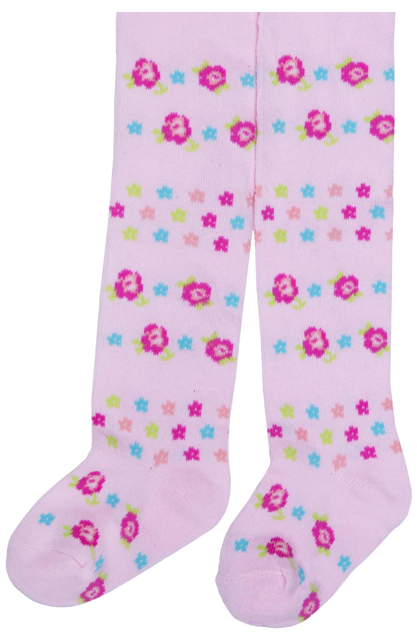 Купить Колготки детские для девочки, Цветы, 1шт., Barkito A00G1135H, Китай, розовый с рисунком цветы , Женский