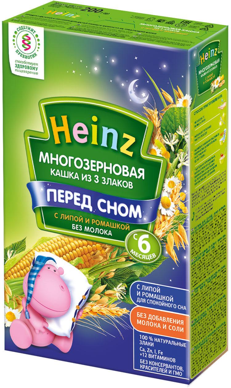 Каша Heinz Heinz Безмолочная 3 злака с липой и ромашкой (с 6 месяцев) 200 г heinz каша многозерновая из пяти злаков с 6 месяцев 200 г