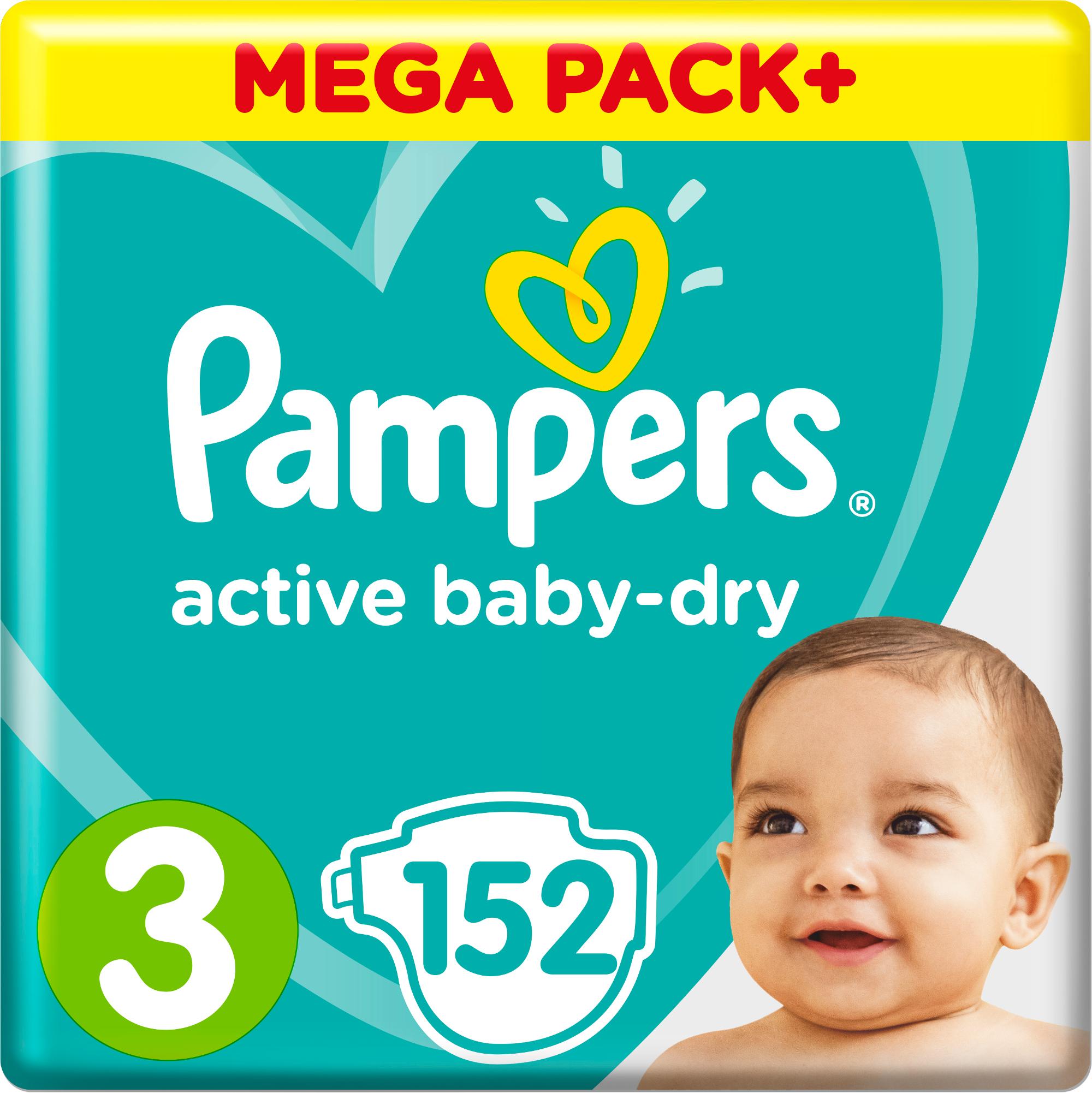 Подгузники 152 шт. Pampers Active Baby-Dry Midi 3 (6-10 кг) 152 шт. подгузники pampers new baby dry mini 3 6 кг 94 шт