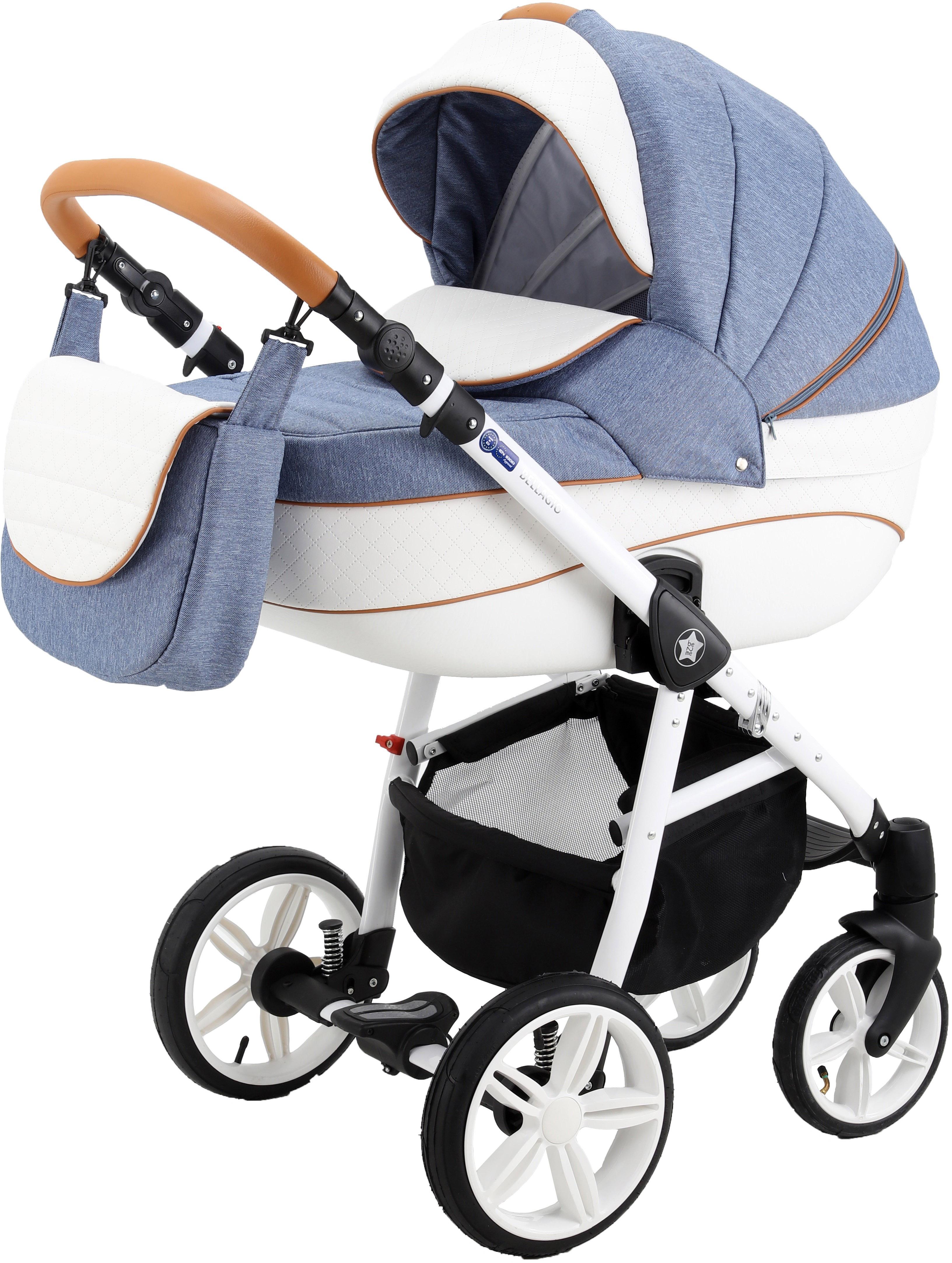 Классическая коляска 3 в 1 Be2Me Bellagio голубой с белым