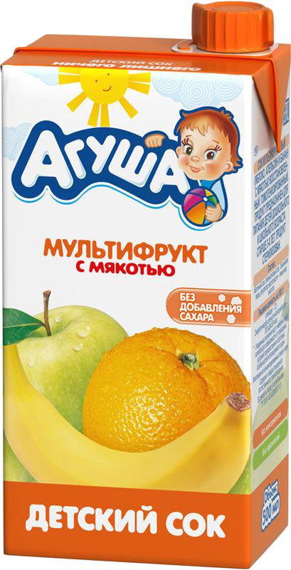 Напитки Агуша Сок Агуша Мультифрукт с мякотью с 3 лет 500 мл молоко фрутоняня 2 5% с 3 лет 500 мл