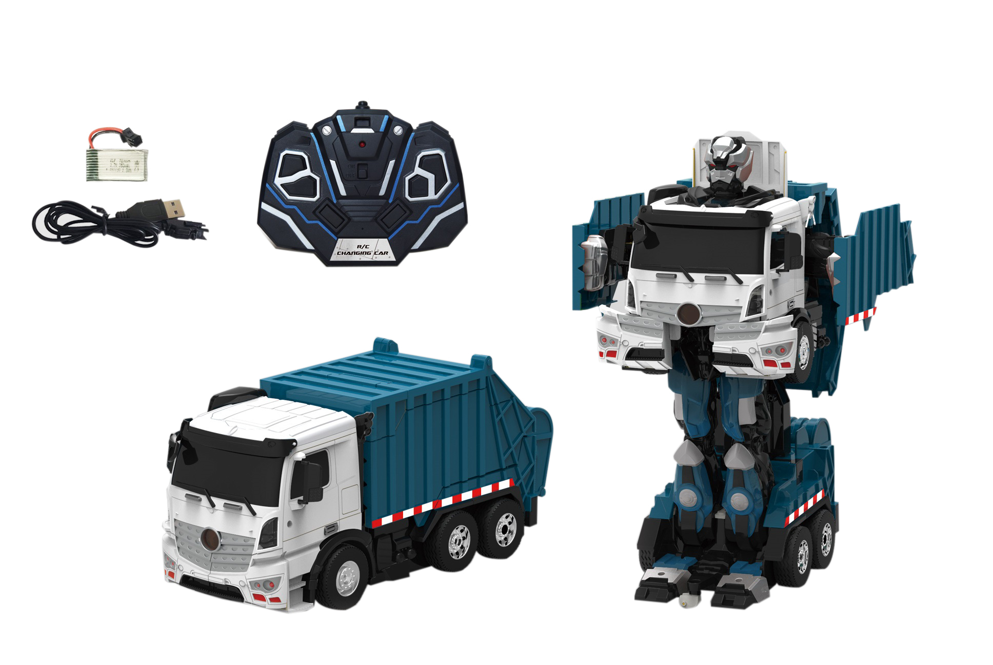Роботы 1toy Робот-трансформер р/у 1Toy «Самосвал» 38 см синий
