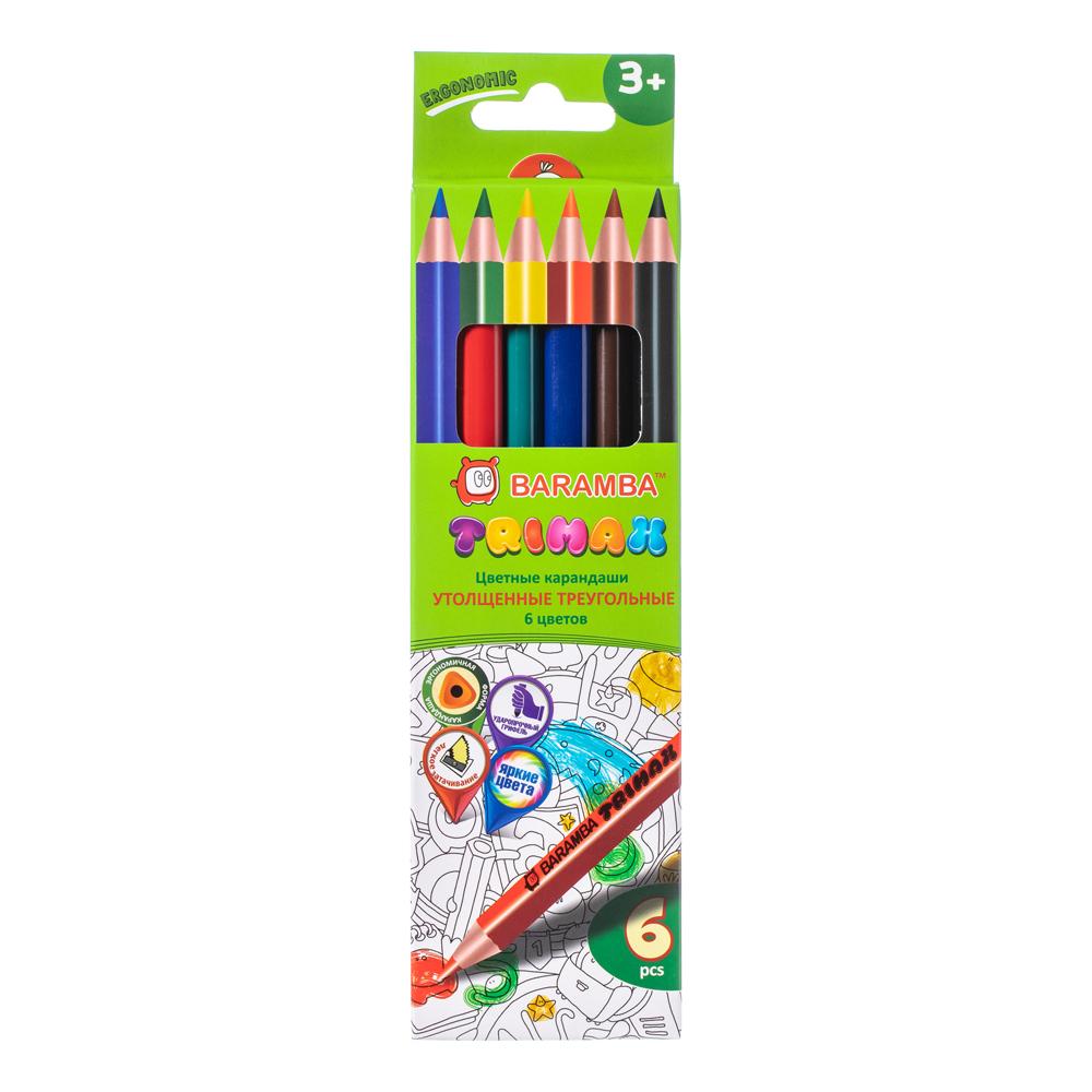 Цветные карандаши Baramba Утолщенные, 6 цветов карандаши цветные baramba шестигранные 12 цветов