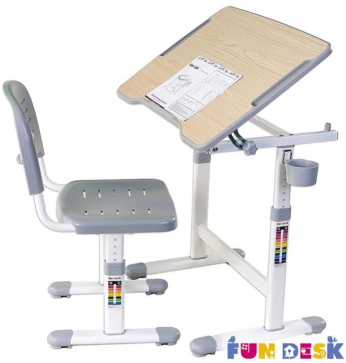 Столы и стулья FunDesk Комплект мебели FunDesk «Piccolino II» стол 66х47 см и стул серый комплект fundesk piccolino ii pink