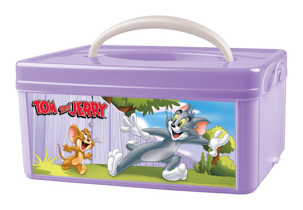 Ящик для игрушек TOM&JERRY С ручкой сиреневый, 3 л
