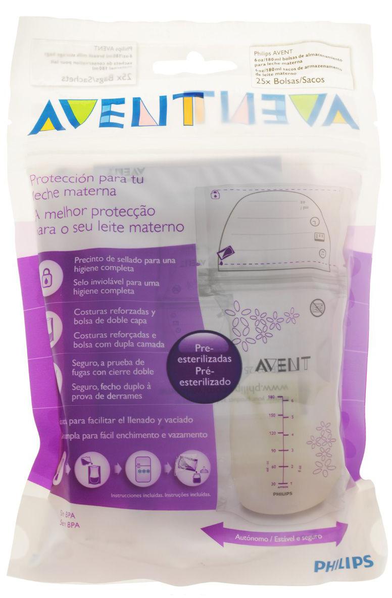 Купить Пакеты, для хранения гудного молока 180 мл (25 шт.), 1шт., Philips AVENT PHA-SCF603/25, Китай