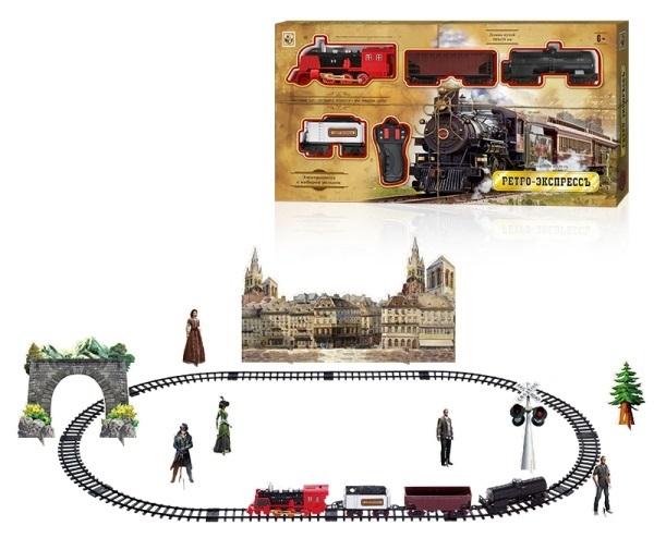 Железные дороги и паровозики 1toy Ретро Экспресс Т10578 1toy ж д ретро экспресс свет звук дым паровоз 3 вагона пульт д у 27 деталей длина путей 78