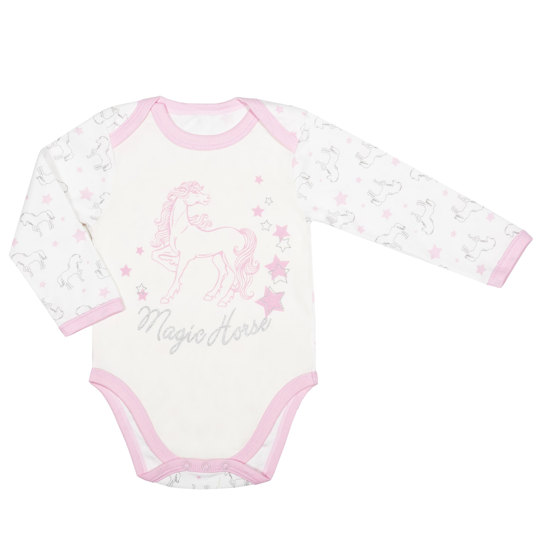Первые вещи новорожденного Barkito Боди с длинным рукавом для девочки, комплект 2 шт., Barkito Лошадки , экрю с рисунком, розовый боди и песочники spasilk боди короткий рукав ons3p02 ons3p03 3 шт