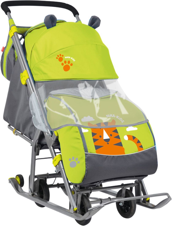 Санки Nika Санки-коляска с колесами Nika «Детям 7» зеленые санки коляска nika детям 7 2 нд7 2 собака pink