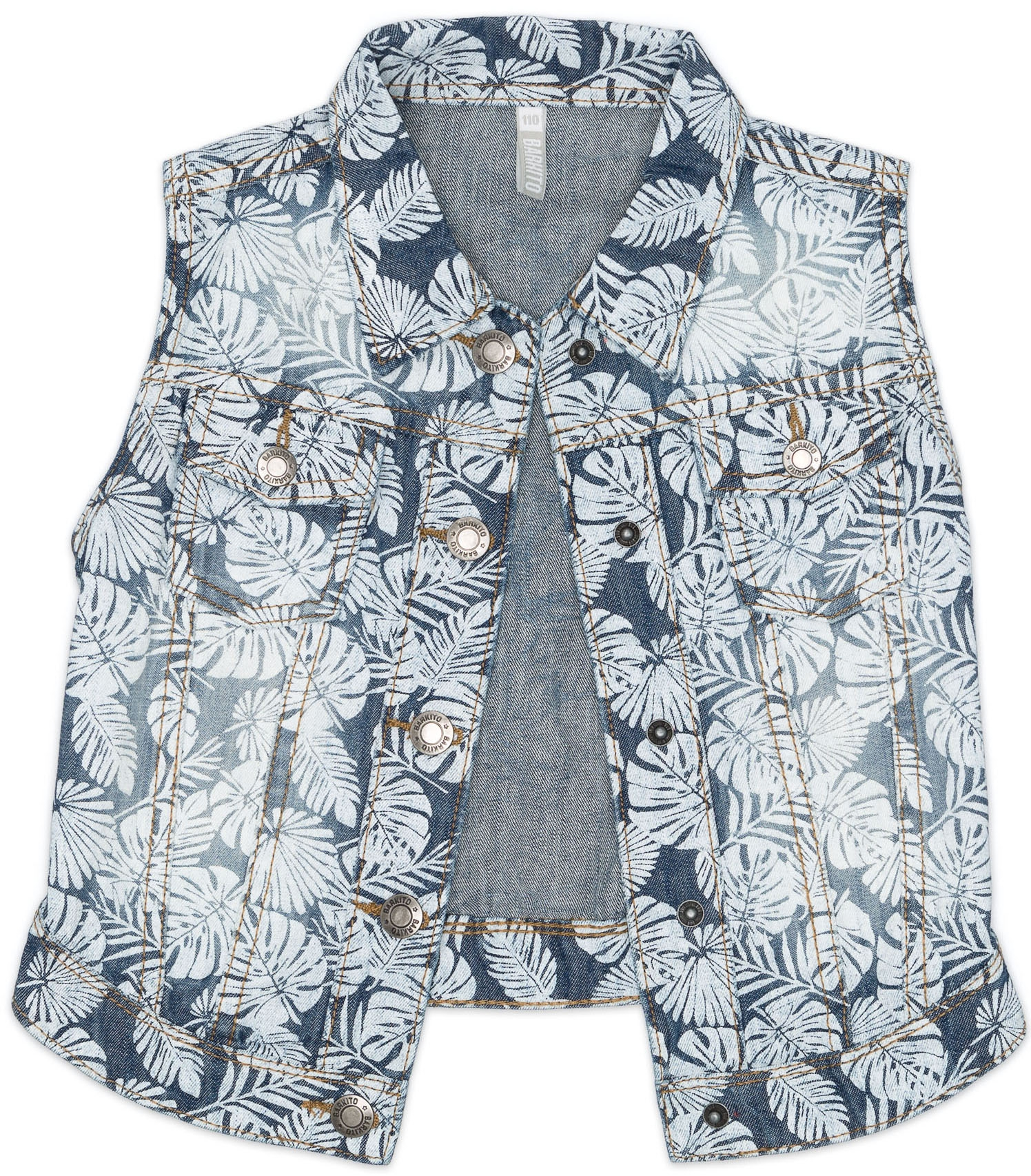 Купить Жилет джинсовый для девочки, Фламинго, Barkito, Бангладеш, голубой, 100% хлопок, Женский