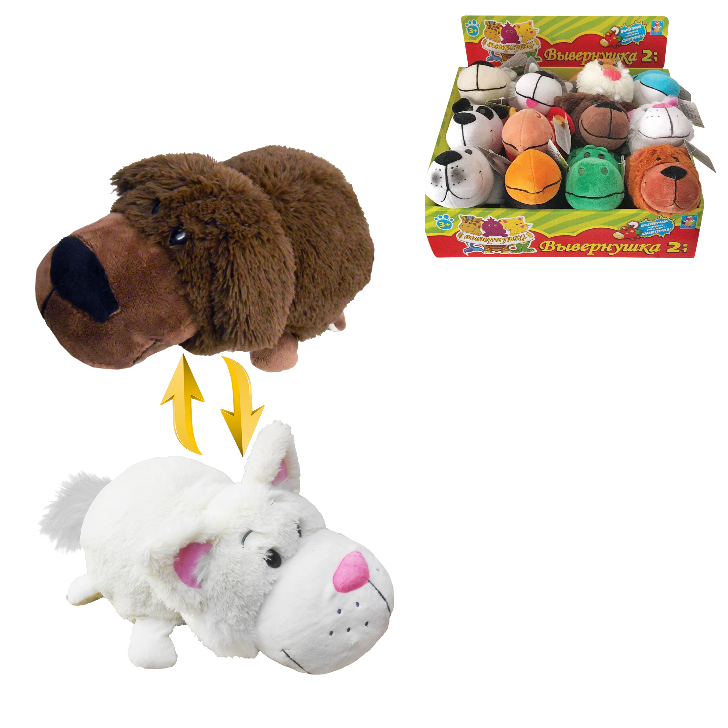 Мягкие игрушки 1toy Мягкая игрушка 1Toy «Вывернушка» 20 см в асс. игрушка 1toy robopets королевская кобра т11395