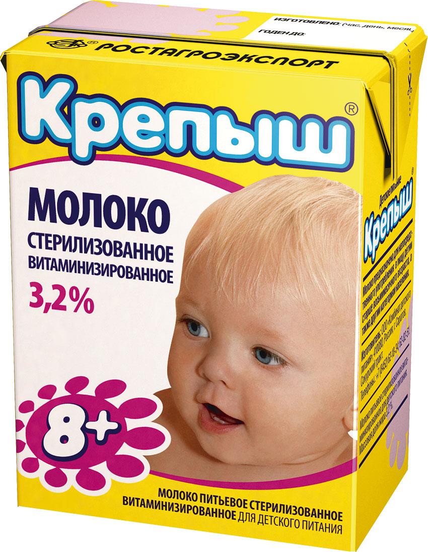 Молоко Крепыш Молоко Крепыш витаминизированное 3,2% с 8 мес. 200 мл молоко тёма 3 2% с 8 мес 200 мл