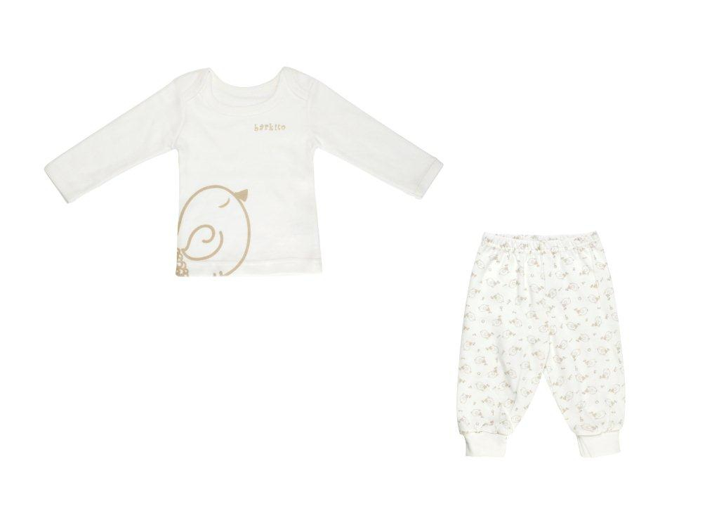 Первые вещи новорожденного Barkito Футболка с длинным рукавом и штанишки Птички Экрю футболка трикотажная карита экрю
