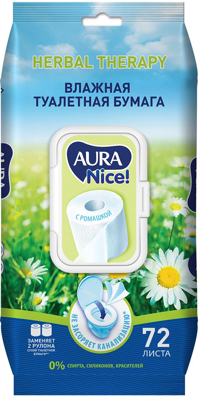 Влажная туалетная бумага AURA 72 шт. цена 2017