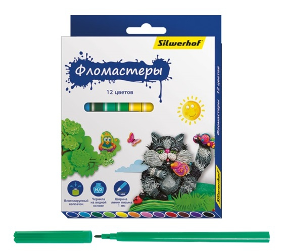 Фломастеры Silwerhof Пластилиновая коллекция 12 цветов silwerhof карандаши цветные пластилиновая коллекция 18 цветов