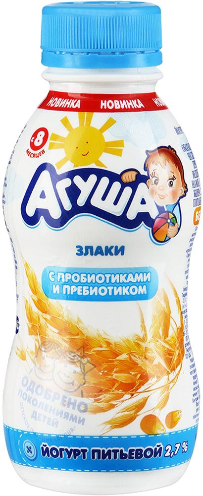 Йогурт Агуша Агуша питьевой Злаки 2,7% с 8 мес. 200 мл кефир агуша 3 2% с 8 мес 200 мл