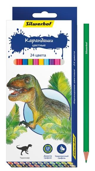 Карандаши цветные Silwerhof Динозавры 24 цветов ручки и карандаши silwerhof карандаши цветные silwerhof 12 цв