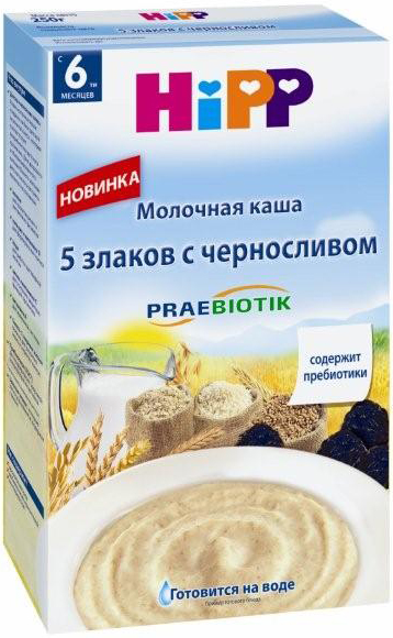Купить Каша 5 злаков с черносливом и пребиотиками с 6 мес. 250 г мол., 1шт., HIPP 2918, Хорватия
