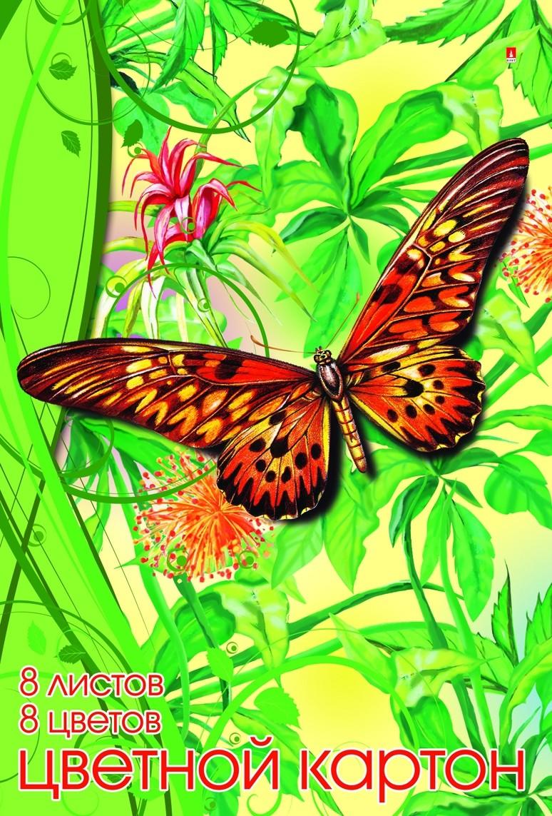 Цветная бумага и картон Альт Мультики 8 цветов апплика цветной картон 8 листов 8 цветов