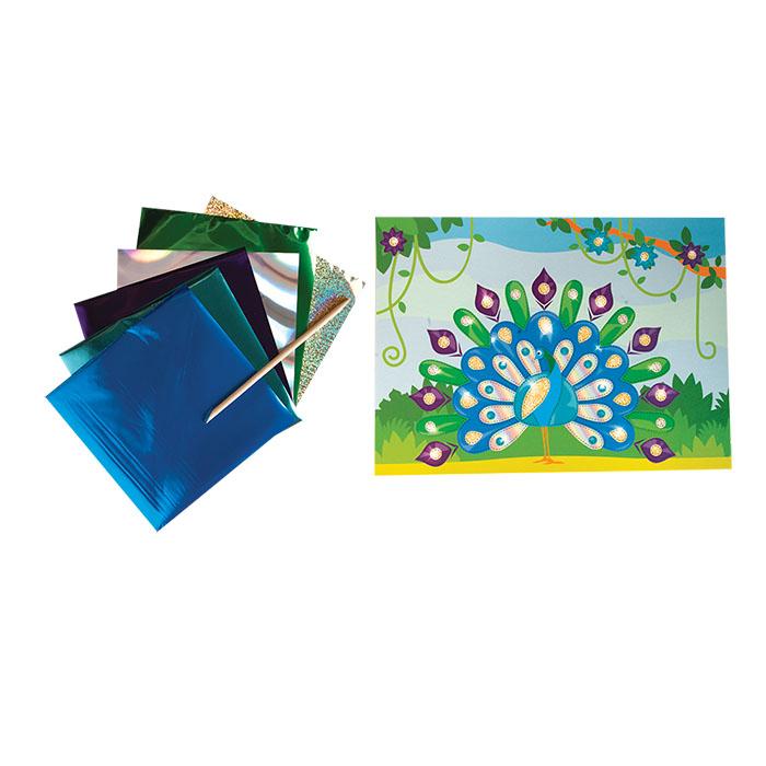 Наборы для творчества Каляка-Маляка Набор для творчества Каляка-Маляка «Павлин» аппликация фольгой ручки и карандаши каляка маляка карандаши пластиковые каляка маляка 12 цветов