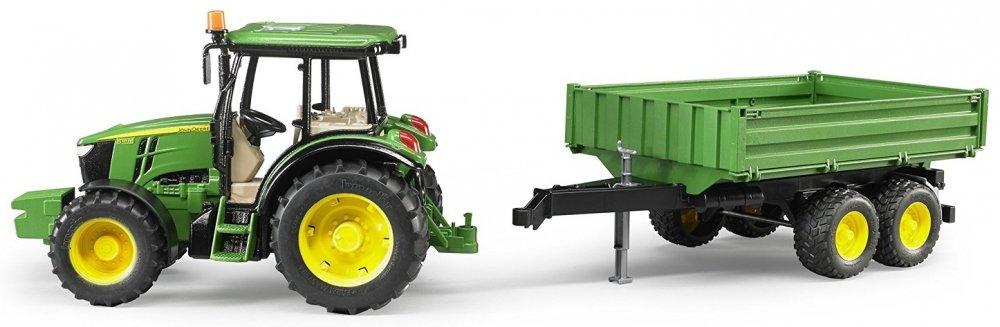 Машина Bruder «Трактор John Deere 5115M « с прицепом игрушка bruder john deere 1210e трактор с прицепом манипулятором и брёвнами 02 133