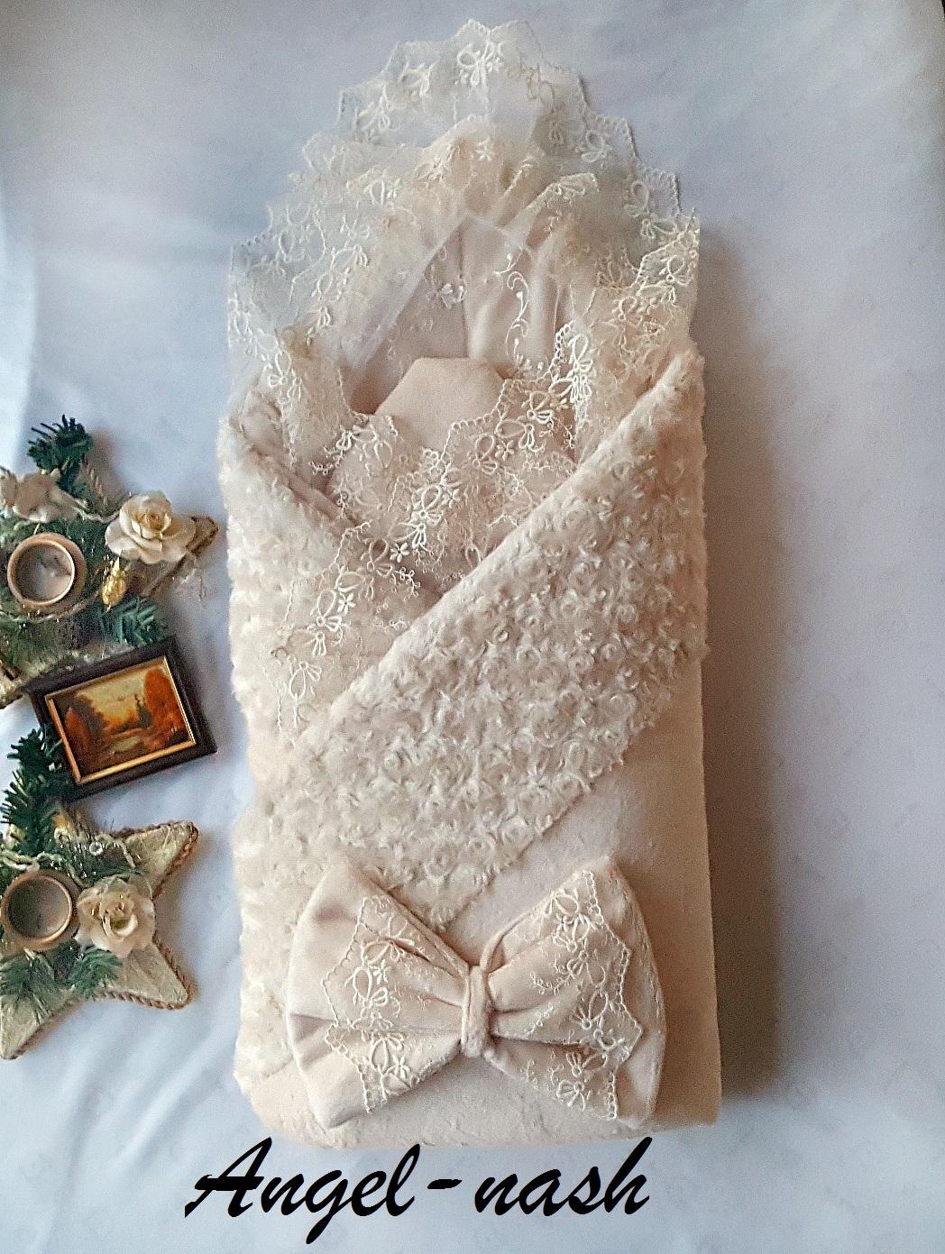 Комплект на выписку Ангел наш Ангел Наш 9 предметов бежевый конверт на выписку супермамкет justcute совы зима флис бант